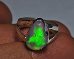 6.5sz Sterling Ring Very Fiery Metallic Colours Mesmerizing Opal