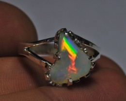 Sz7 Bright Solid Natural Multicoloured Opal .925 Silver Ring