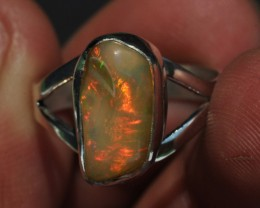 Sz8 Bright Solid Natural Multicoloured Opal .925 Silver Ring