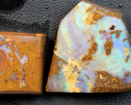 76 CTS 2 PCS  BOULDER OPAL RUB FACED FOR EASY CUTTING