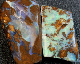 85 CTS 2 PCS BOULDER OPAL RUB FACED FOR EASY CUTTING