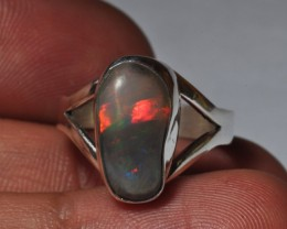 Sz7.5 Bright Solid Natural Multicoloured Opal .925 Silver Ring