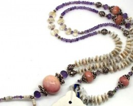 PINK PERU OPAL NECKLACE 300 CTS    OF-926