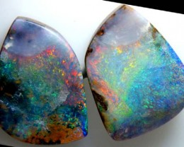 BOULDER OPAL PAIR POLISHED STONE 58.45 CTS  INV-