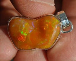 Natural Ethiopian Welo Opal .925 Sterling Silver Pendant Mexican Taxco Jewe