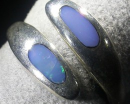 SIZE 8 Crystal opal inlay Silver Ring  AGR 676