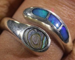 SIZE 7Pearl  Crystal opal inlay Silver Ring  AGR 1104