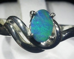 Doublet  Opal Silver Ring  size 6.5  AGR 1132