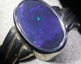 Black Opal Silver Ring  AGR 1142