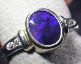 Black Opal n1 Silver Ring size 6  AGR 1143