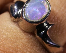 Solid Crystal Opal Silver Ring  AGR 1155