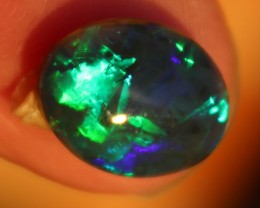 Lightning Ridge 2.91 ct Crystal Black Opal Green Blue Gem Opal