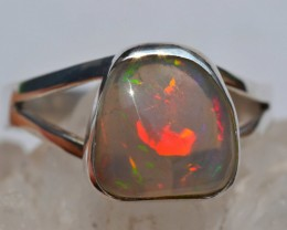 6.5sz Sterling Ring Very Fiery Metallic Colours Mesmerizing Opal