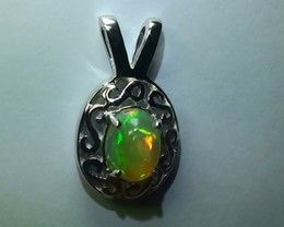 Opal Womans 925 Sterling Silver Solid Crystal Opal Pendant