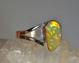 7sz Bright Solid Natural Honeycomb Fire Opal .925 Silver Ring