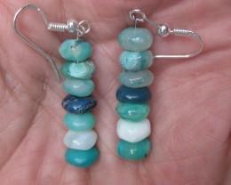 Peruvian Blue Opal Bead Earrings Sterling Silver Dangle