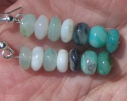 Blue Peruvian Opal Bead Earrings Sterling Silver Dangle