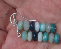 Blue Peruvian Opal Bead Earrings Sterling Silver Dangle P3