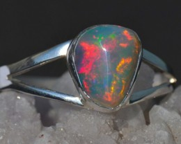 Sz11 Bright Solid Natural Multicoloured Opal .925 Silver Ring Men's