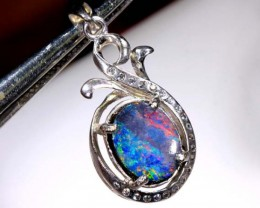 DOUBLET OPAL SILVER PENDENT  11.75  CTS   OF-938