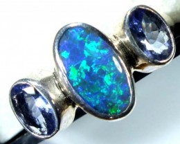 DOUBLET OPAL SILVER RING 15.75  CTS OF-941