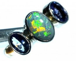 DOUBLET OPAL SILVER RING 15.05  CTS OF-945