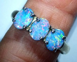 DOUBLET OPAL SILVER RING 16.40  CTS OF-946
