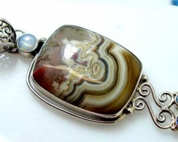 OPAL WITH LACE AGAT  SILVER PENDANTS 63.75 CTS   OF-952