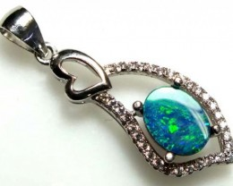 DOUBLET OPAL SILVER PENDENT  9.80  CTS   OF-957