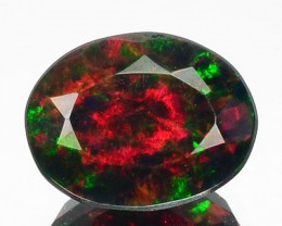 1.71 Cts Smoked Multi Color Play Ethiopian Black Opal Oval Faceted