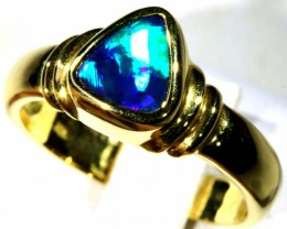 GREEN FLASH BOULDER OPAL 18K GOLD RING SIZE 8.5 H1697