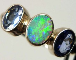 DOUBLET OPAL SILVER RING 14.65  CTS OF-990