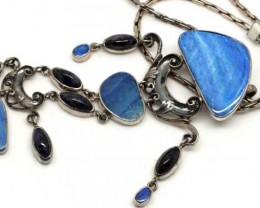 BOULDER OPAL AND AMETHYST SILVER NECKLACE 234  CTS  OF-1005