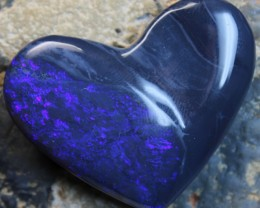 99 CTS BLACK OPAL CARVING HEART BLUE FIRE POLISHED STONE C9581
