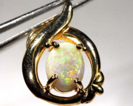 WHITE OPAL PENDANT WITH SILVER METAL AND GOLD PLATING 6.90 CTS   OF-1034