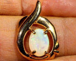 WHITE OPAL PENDANT WITH SILVER METAL AND GOLD PLATING  CTS 6.45  OF-1037