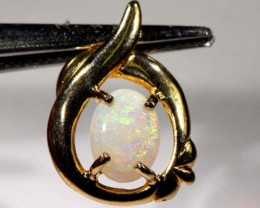 WHITE OPAL PENDANT WITH SILVER METAL AND GOLD PLATING  CTS 6.45  OF-1039