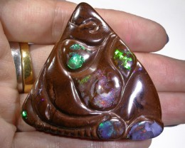 Boulder opal Unique carving with bead AGR2012