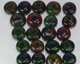 10.22 Cts Smoked Ethiopian Multi Color Play Opal Beads NR