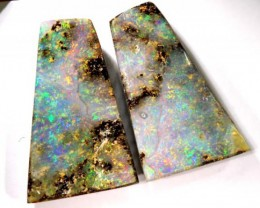 BOULDER OPAL 2 PC EARRING PAIR 21.35CTS  NC-2452  GC