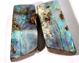 BOULDER SPLIT 2PC   OPAL PAIR 20.25 CTS  NC-2463 GC