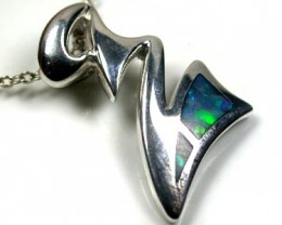 BEAUTIFUL ZIG-ZAG GREEN FLASH DOUBLET OPAL PENDANT SCO1592