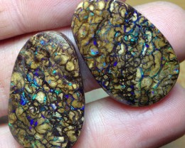 BARGAIN BUY IT NOW Boulder Opal Picture Stone pair AB409 52cts