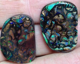 BARGAIN BUY IT NOW Boulder Opal Picture Stone pair AB410 58.5cts