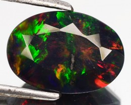 1.61 Cts Smoked Multi Color Play Ethiopian Black Opal Oval Faceted