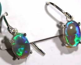 BLACK OPAL SILVER  EARRINGS 7.25 CTS OF-1062 GC