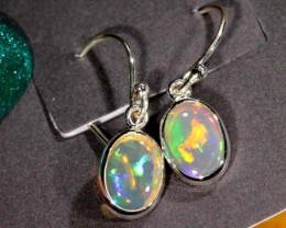 CRYSTAL OPAL SILVER  EARRINGS 7.70 CTS  OF-1065 GC