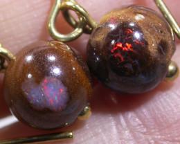 Flashy Koroit Boulder Opal 18k gold earrings  BU 411