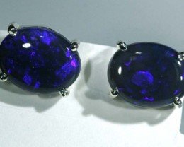 BLACK OPAL SILVER  EARRINGS  10.15  CTS    OF-1074 GC