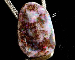 BOULDER OPAL PENDANT WITH SILVER CHAIN 18.55 CTS OF-1080